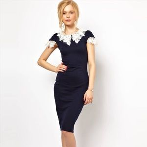 Lydia Bright Lace Collar Pencil Dress US Size 8